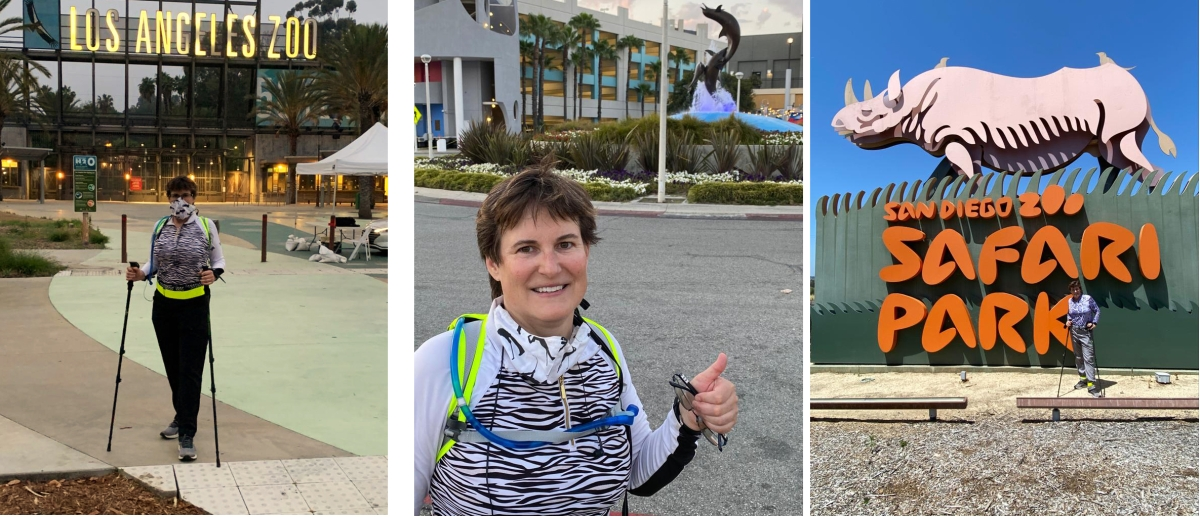 Dr. Monica Metzdorf walked from the Los Angeles Zoo to the Aquarium of the Pacific to the San Diego Zoo Safari Park in 8 Days to raise funds for zoo and aquarium animals: Will youdonate?