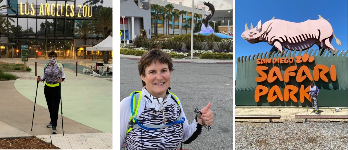 Dr. Monica Metzdorf walked from the Los Angeles Zoo to the Aquarium of the Pacific to the San Diego Zoo Safari Park in 8 Days to raise funds for zoo and aquarium animals: Will you donate?